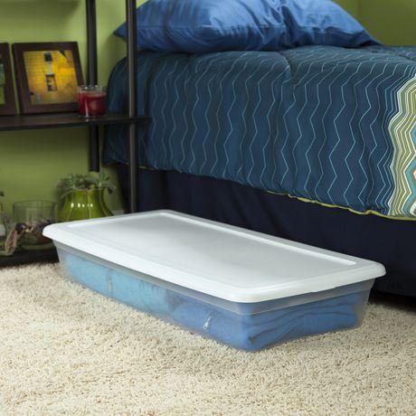Walmart Under Bed Storage Impressive Sterilite 60 Liter Underbed White Storage Box Walmart Canada