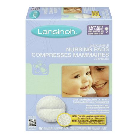 Lansinoh Stay Dry Disposable Nursing Pads, Number One Selling Breastfeeding Pad for Breastfeeding Mothers, Leak Proof Protection, Maximum Comfort And Discretion, 60 Count - image 1 of 4