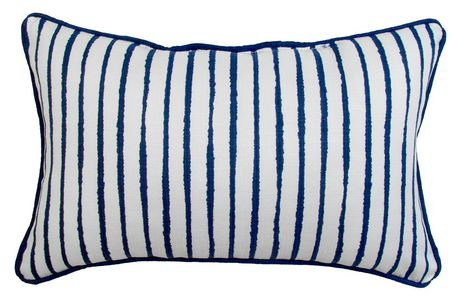 hometrends White and Blue Stripe Outdoor/Indoor Toss Cushion - image 1 of 3