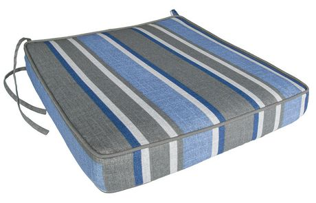hometrends Blue/Grey Stripe Seat Cushion - image 1 of 2