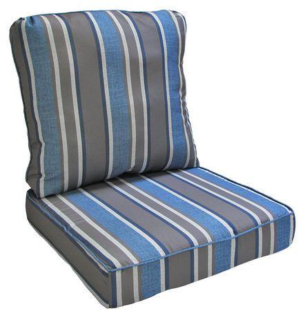 Hometrends blue grey stripe deep seat cushion walmart canada for Chaise bercante walmart