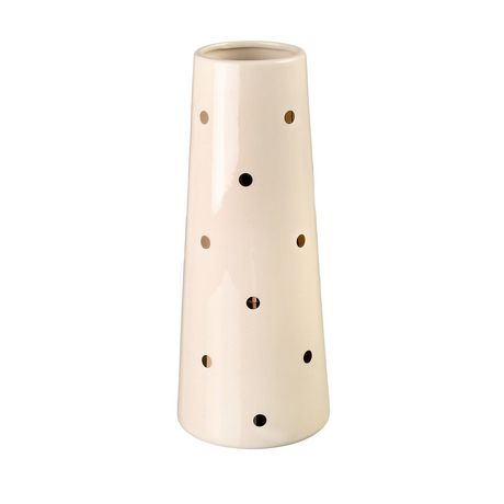 Tall shiny cream-coloured ceramic vase from hometrends