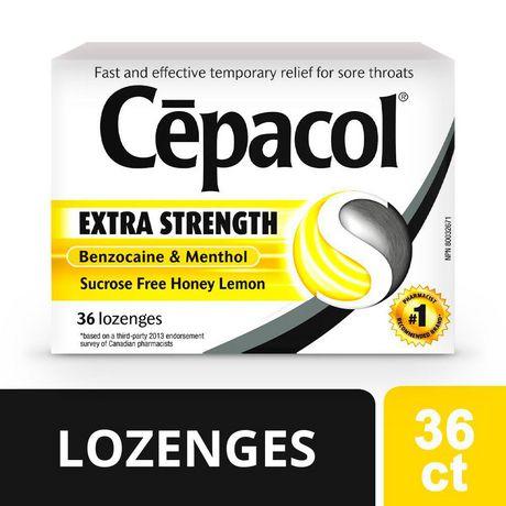 CépacolMD EXTRA-FORT sans saccharose au miel et au citron, paquet économique, 36pastilles contre le mal de gorge - image 1 de 5