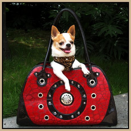 Cool Runners Faux Red & Black Leather Pet Carrier - image 2 of 3