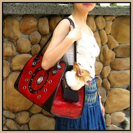Cool Runners Faux Red & Black Leather Pet Carrier - image 3 of 3