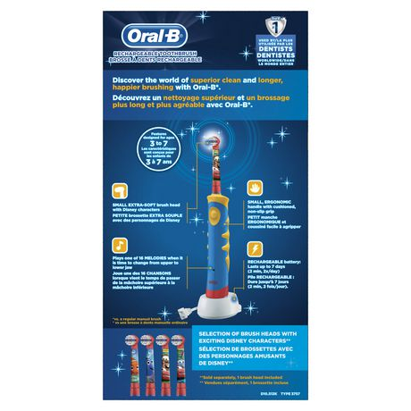 oral b brosse dents lectrique rechargeable pour enfants mettant en vedette les personnages. Black Bedroom Furniture Sets. Home Design Ideas