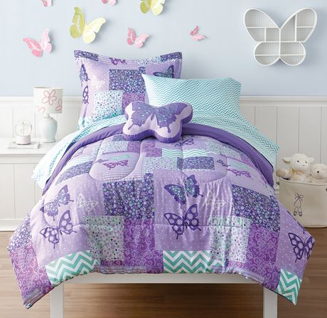 Mainstays Kids Butterfly Bed In A Bag Microfiber Bedding Set