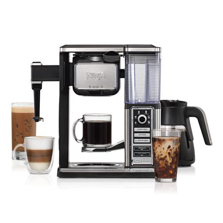 Silver and black coffee bar system from Ninja with glasses and mugs filled with coffee