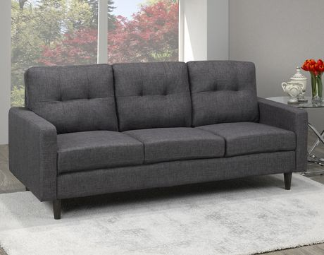 Brassex 3-Seater Tufted Sofa, Grey - image 1 of 2