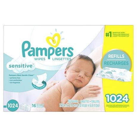 Lingettes pour bébés Pampers Sensitive, Recharges 16X | Walmart Canada