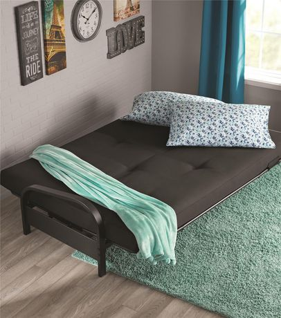 """best loved 45655 d1deb DHP MAINSTAYS Black Metal Arm Futon Frame with 6"""" Full Size Mattress &  Retainer Covers"""