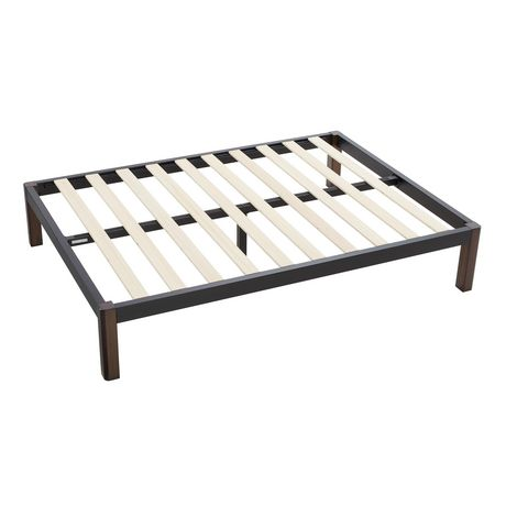 Mainstays Metal Bed Frame with Wood Legs, Black, Twin - image 1 of 9