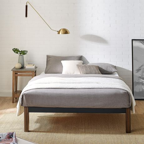 Mainstays Metal Bed Frame with Wood Legs, Black, Twin - image 3 of 9