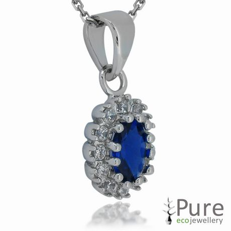 Princess Kate Sterling Silver Pendant with Oval Sapphire and CZ - image 2 of 3