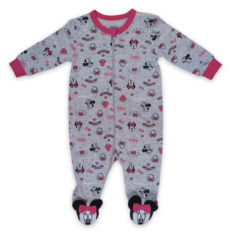 Disney Store Pink Minnie Mouse Cute Baby Sleeper Outfit Size 12 18 24 Months