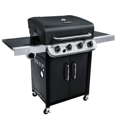 Char-Broil black 4-burner barbecue with cabinet and lid has porcelain coated cast iron grates and comes with 650 total square inches of cooking space. It also has porcelain coated wire warming rack and electronic ignition.