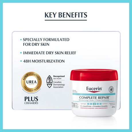 Eucerin Complete Repair Cream, Moisturizing Body and Hand Cream for Use After Hand Sanitizer or Hand Soap - image 3 of 6