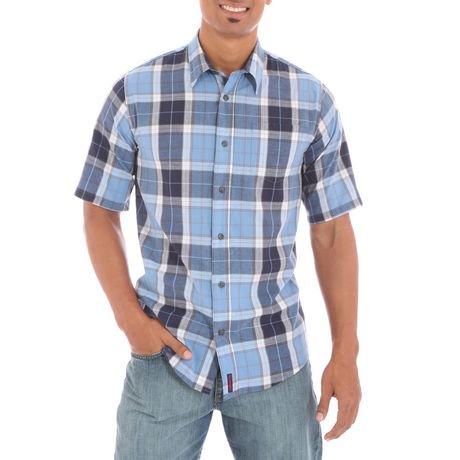 Wrangler men 39 s short sleeve single pocket shirt for Mens two pocket short sleeve shirts