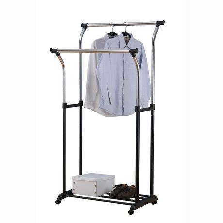 Walmart Clothes Hanger Rack Inspiration MAINSTAYS Double Rod Garment Rack Walmart Canada
