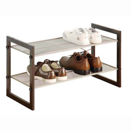 mainstays 2 tier mesh shoe rack walmart canada. Black Bedroom Furniture Sets. Home Design Ideas