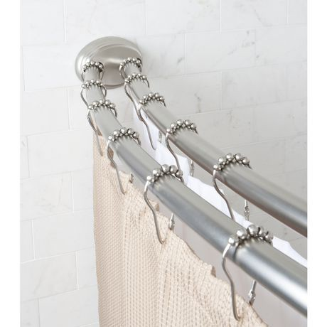 Mainstays Smart Rods Adjustable Double Curved Shower Rod Brushed Nickel