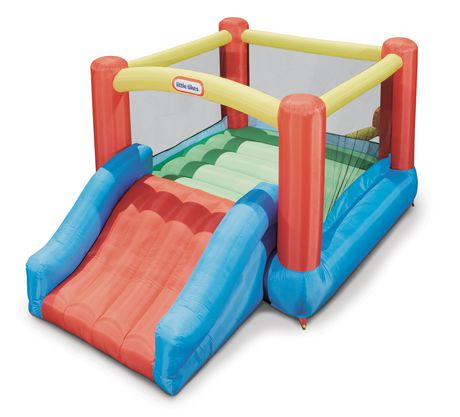 Red, blue and yellow inflatable jump and slide bouncer, made by Little Tikes