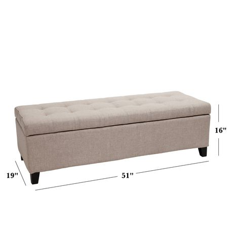 Noble House Munford Beige Tufted Fabric Storage Ottoman Bench - image 7 of 7
