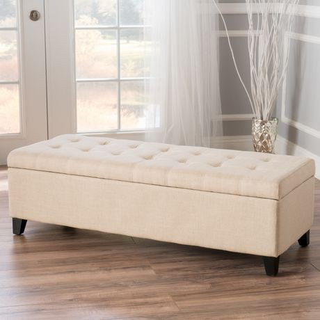 Noble House Munford Beige Tufted Fabric Storage Ottoman