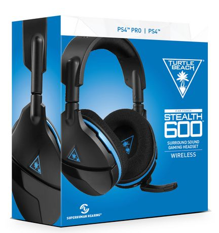 Blue and white box showing black gaming headset from Turtle Beach