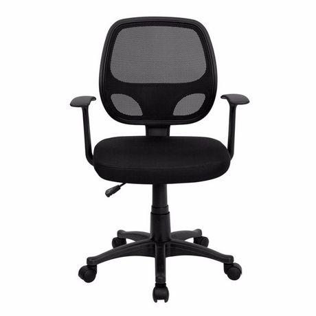 Chaise de bureau avec accoudoir Nicer Furniture à dossier moyen en maille noire - image 1 de 5