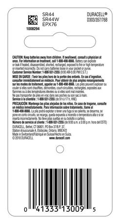 Duracell 303/357 Silver Oxide Watch/Electronic Button Battery, 1 Pack - image 2 of 5
