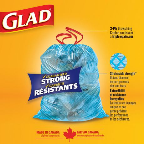 Glad Blue Recycling Bags Large 90 Litres 30 Trash Bags