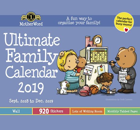 2019 motherword ultimate family br calendar small wall tabbed