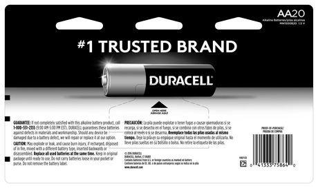Duracell 1.5V Coppertop Alkaline, AA Batteries, 20 Pack