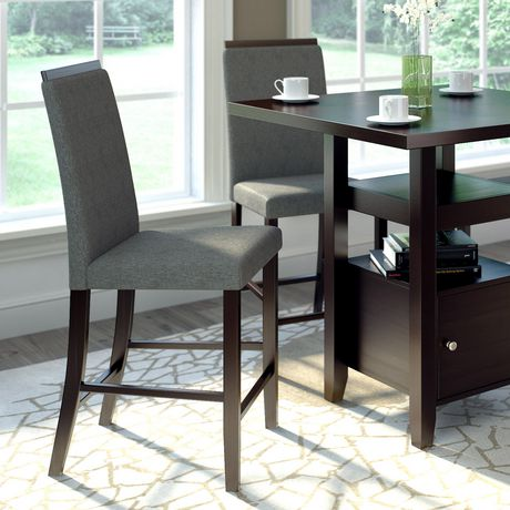 Corliving Bistro Pewter Grey Fabric Counter Height Dining