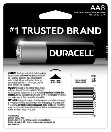 Duracell 1.5V Coppertop Alkaline, AA Batteries, 8 Pack