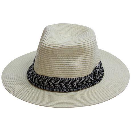 Chapeau panama George pour femmes en tresses cousues avec bande de contraste - image 1 de 1