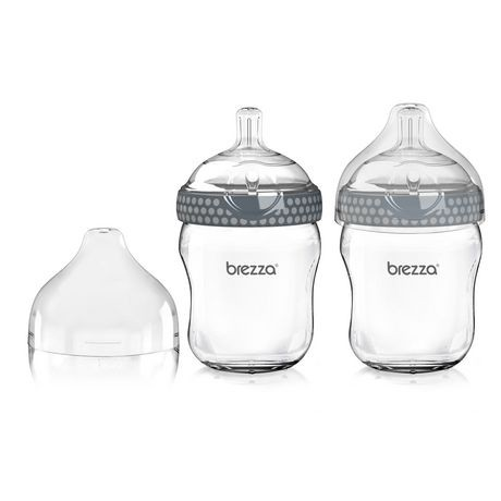 ensemble de deux biberons en verre gris 8 oz de baby. Black Bedroom Furniture Sets. Home Design Ideas