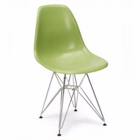 Chaise de salle à manger Nicer Furniture avec les jambes en acier chromé à motif d'eiffel en vert - image 1 de 1