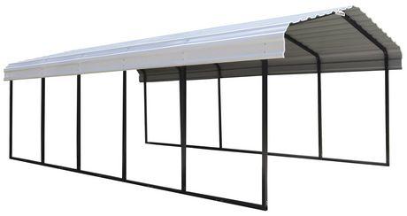 Steel Carport 12 x 24 x 7 ft. Galvanized Black/Eggshell ...