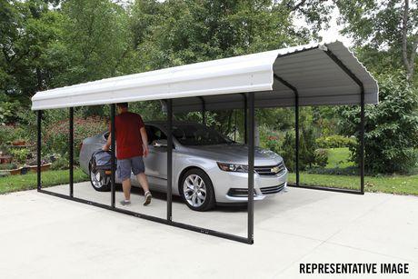 Steel Carport 12 X 24 X 7 Ft Galvanized Black Eggshell Walmart Canada