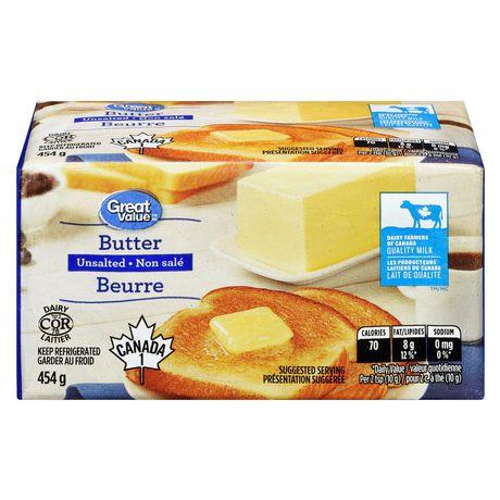 Beurre non salé Great Value - image 1 de 6