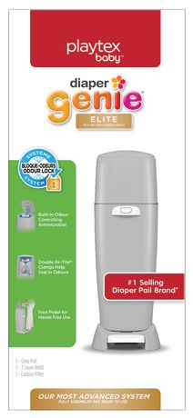Playtex Baby Playtex Diaper Genie Elite Diaper Pail System With Front Tilt Pail For Easy Diaper Disposal, Grey by Playtex Baby