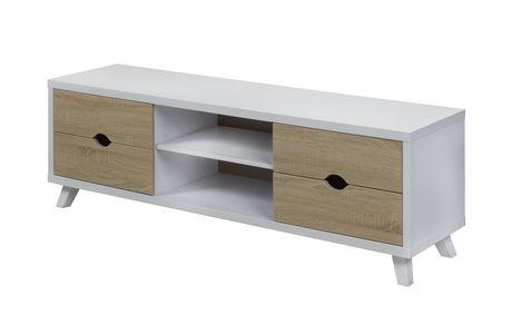 Brassex Alero 60' TV Stand with Storage, White/Oak - image 1 of 3