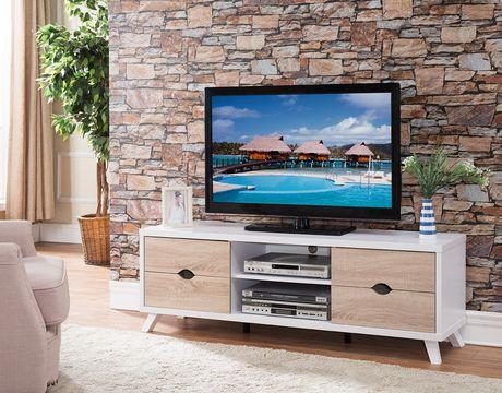 Brassex Alero 60' TV Stand with Storage, White/Oak - image 2 of 3