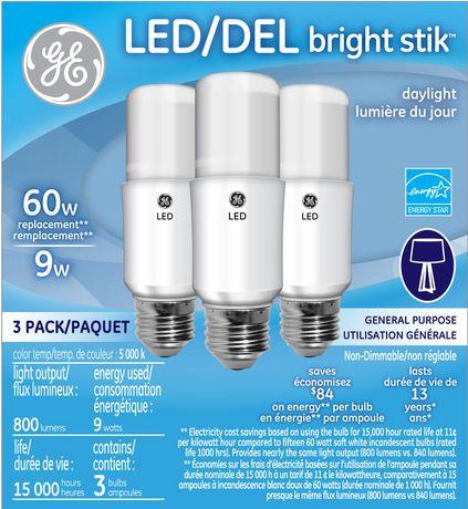 Ge Lighting 9w Bright Stik Daylight Led Bulb Walmart Canada