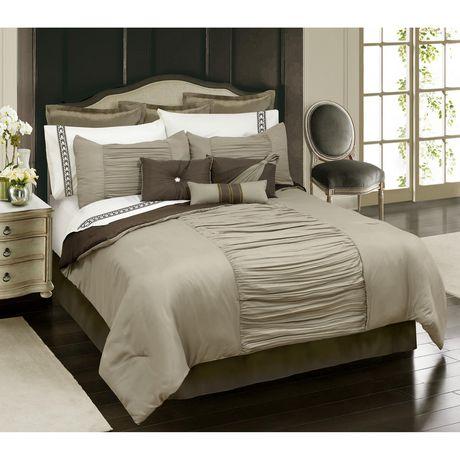 Ens. édredon Safdie & Co. de la collection Home Deluxe à 100 % polyester en taupe - image 1 de 1