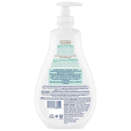 Nettoyant pour peaux hydratées, sujettes à l'eczéma BabyDove Tête Aux Pieds Hydratation peau sensible sans parfum 591 ml - image 3 de 6