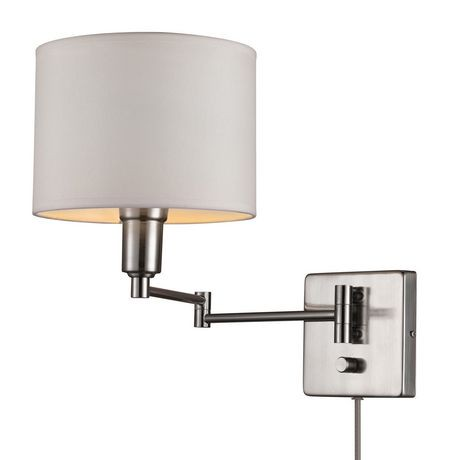 Globe Electric 1 Light Brushed Steel And White Plug In Wall Sconce