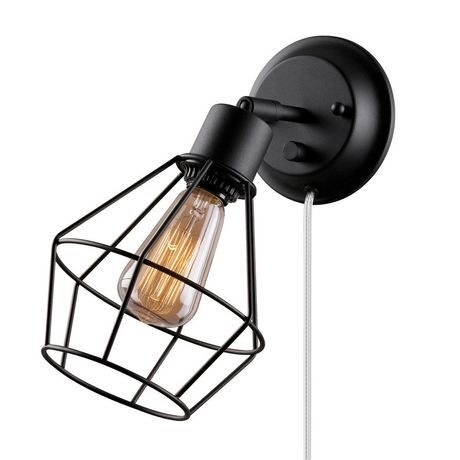 plug in industrial lighting. Globe Electric 1-Light Matte Black Plug-in Industrial Cage Wall Sconce | Walmart Canada Plug In Lighting